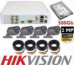 Kit Video Vigilancia Hikvision 4 Camaras p 2 Mp 500 Gb