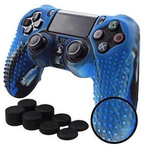 Ps4 Funda De Silicona Texturizada (azul Camuflaje)