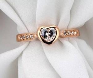 Anillo 18 K De Oro Rosa De Corazon Compromiso Envio Gratis