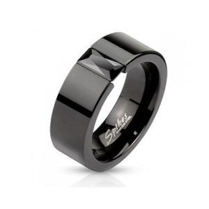 Anillo Acero Inoxidable Diseño Zirconia Negra Prensada Eg