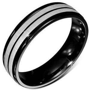 Anillo Acero Inoxidable Negro Y Plata Diseño Estriado