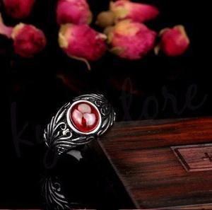 Anillo Caballero Red Stone Acero Inoxidable 316 Biker Rocker