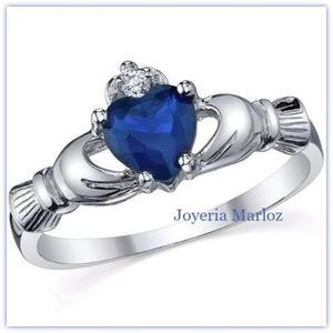Anillo Claddagh Promesa Amor Plata Oro Azul