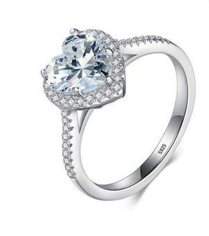Anillo Compromiso 100% Plata 925 Diamante Cz 2ct Top Cuore
