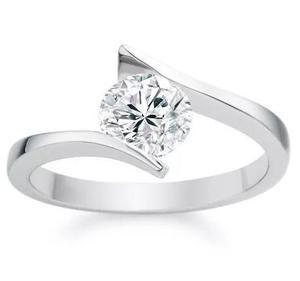 Anillo Compromiso Blanco 14k Diamante Natural.15ct(3.3mm)