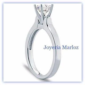 Anillo Compromiso Blanco 14k Diamante Natural De Mina.18ct