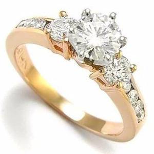 Anillo Compromiso Chapa De Oro De 24kt Diamante Ruso