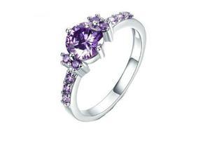 Anillo Compromiso Cristal Austriaco Purpura, Boda Novia E G
