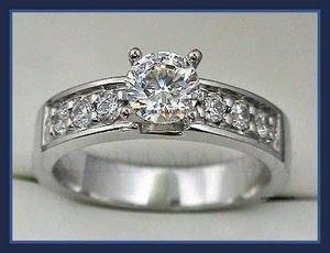 Anillo Compromiso Oro Bianco 14kt.90ct Diamante Ruso