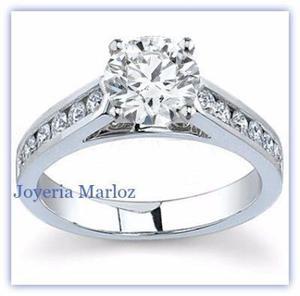 Anillo Compromiso Oro Blanco 10kt Diamante Ruso 045