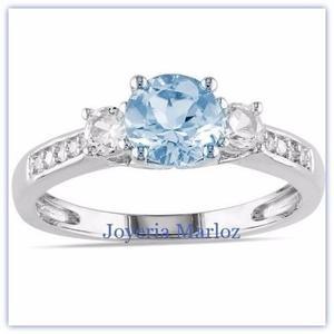 Anillo Compromiso Oro Blanco 10kt Diamante Ruso Gxy-10-cz