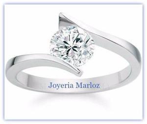 Anillo Compromiso Oro Blanco 10kt Diamante Ruso S4-10-cz