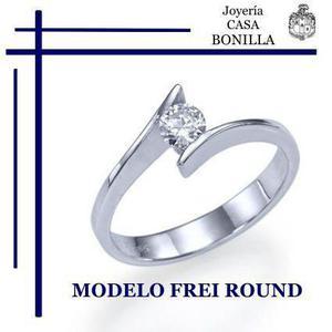 Anillo Compromiso Oro Blanco 14k Diamante De Grafito.25 Cts