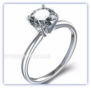 Anillo Compromiso Oro Blanco 14kt Diamante Ruso 01l-14-cz