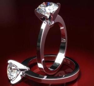 Anillo Compromiso Oro Blanco 14kt Diamante Ruso Bb24u-14-cz