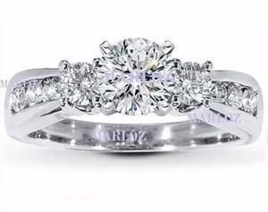 Anillo Compromiso Oro Blanco 14kt Diamante Ruso Galaxy