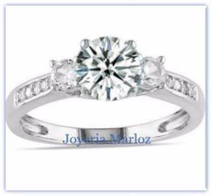 Anillo Compromiso Oro Blanco 14kt Diamante Ruso Gxy-14-cz1