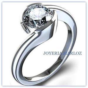 Anillo Compromiso Oro Blanco 14kt Diamante Ruso Luisa