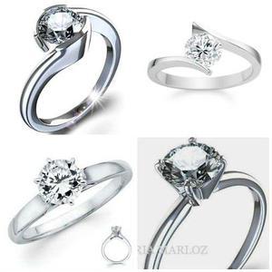 Anillo Compromiso Oro Branco 10kt Diamante Ruso Varios