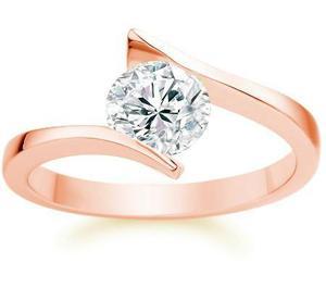Anillo Compromiso Oro Rosa 10kt Diamante Ruso S4