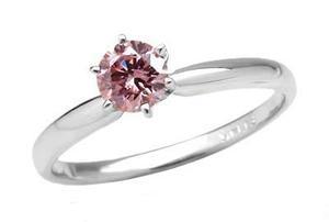 Anillo Con Diamante Cultivado Rosa De 100 Pts. En Oro De 14k