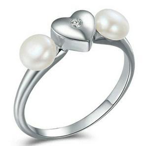 Anillo Corazón Con Dos Perlas Naturales De Plata.925 Mujer