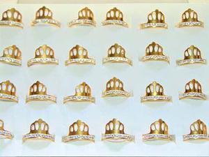 Anillo Corona Acero Zirconias 24 Piezas Envío Gratis