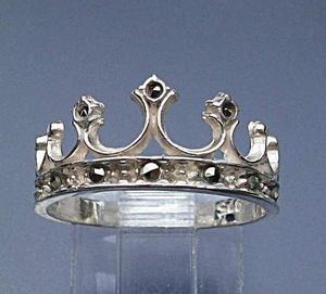 Anillo Corona Con 10 Marcasitas Reina Rey Plata 925 Solida