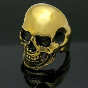 Anillo Cráneo Calavera Oro 24k / Bronce O Acero Choper Rock