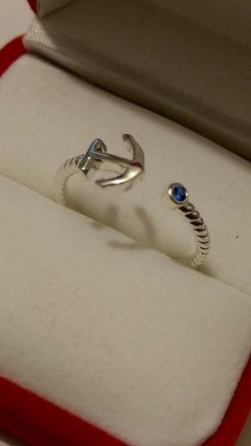 Anillo De Ancla Ajustable Con Zirconia Azul Y Envio Gratis