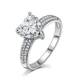 Anillo De Compromiso Corazón Plata Ley 925 Diamante