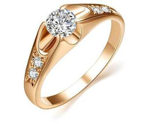 Anillo De Compromiso Oro Laminado Zirconia Calidad Diamante.