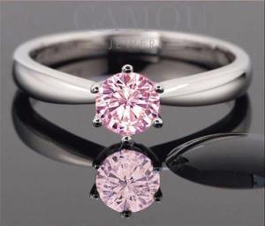 Anillo De Compromiso Plata Y Oro 24k Diamante Rosa