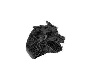 Anillo Figura De Lobo Color Negro F-568