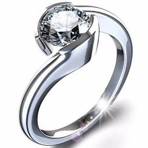 Anillo Oro Blanco 10kt Macizo Con Diamante Ruso Envio Gratis