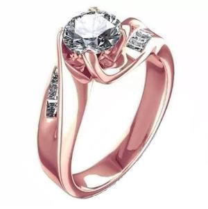 Anillo Oro Rosa 14kt.80ct Diamantes Y Zafiro Blanco Marloz