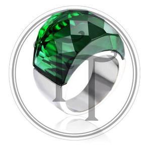 Anillo Tiesto Titanio 18k Swarovski Green # 6-7-8-9-10