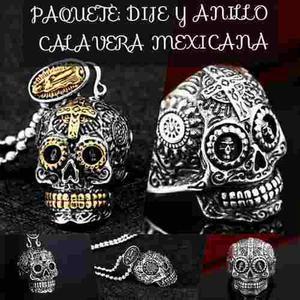 Anillo Y Dije Calavera Mexicana Acero Inoxidable Hombre Muje