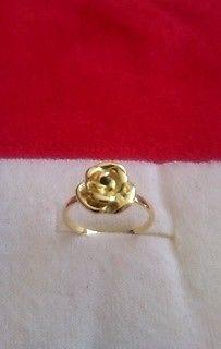 Anillo para Falange Rosa con Zirconia Chapa Oro 18 Kt Nuevo