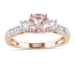 Anillos De Compromiso Oro Rosa 14kt Zafiro Rosa Pink