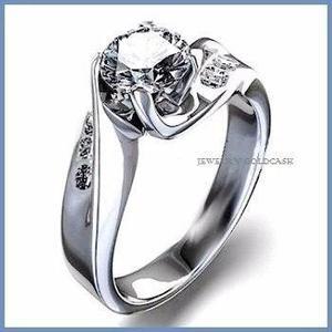 G C+ Anillo De Compromiso Diamante Natural.15ct Oro 14k 019