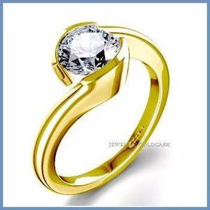 G C+ Anillo De Compromiso Diamante Natural.35ct Oro 18k 144