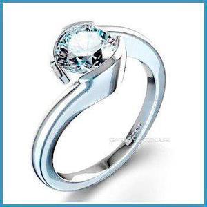 G C+ Anillo De Compromiso Diamante Natural.45ct Oro 18k 199