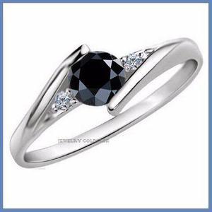 G C+ Anillo De Compromiso Diamante Negro En Oro 10k -50% 013
