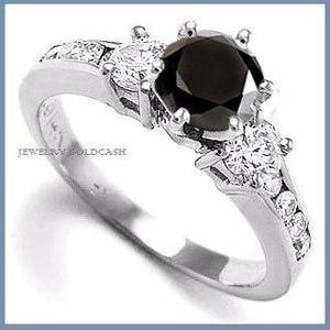 G C+ Anillo De Compromiso Diamante Negro En Oro 10k -50% 015