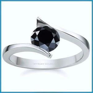 G C+ Anillo De Compromiso Diamante Negro En Oro 10k -50% 019