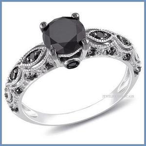 G C+ Anillo De Compromiso Diamante Negro En Oro 10k -50% 045