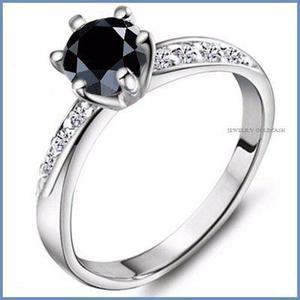 G C+ Anillo De Compromiso Diamante Negro En Oro 14k -50% 027