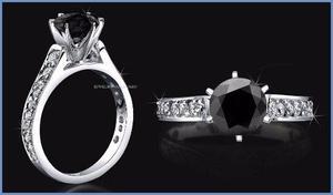 G C+ Anillo De Compromiso Diamante Negro En Oro 18k -50% 044