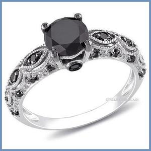 G C+ Anillo De Compromiso Diamante Negro En Oro 18k -50% 047